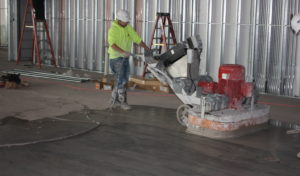 working on floor coating